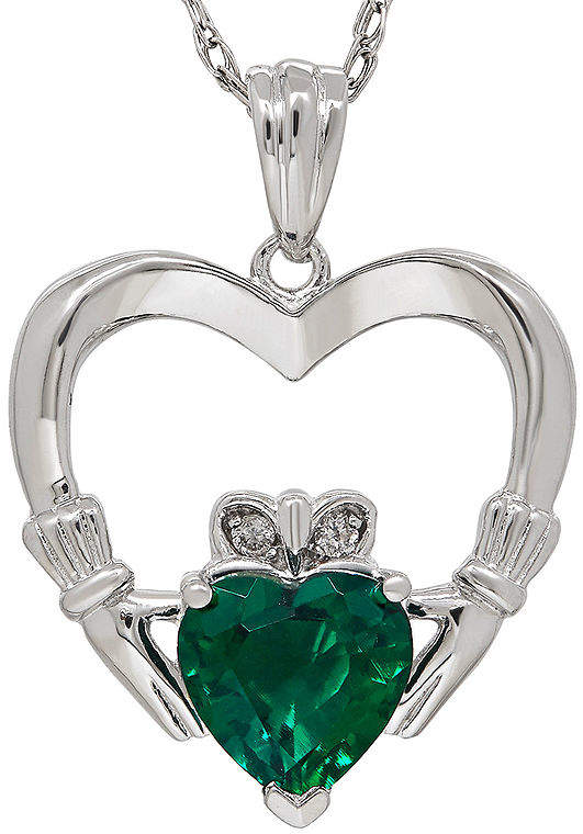 FINE JEWELRY Lab-Created Emerald and Diamond-Accent Claddagh Heart Pendant Necklace. $95.62 (Originally $187.48). CLICK IMAGE TO PURCHASE. Representing love, loyalty and friendship, this sterling silver Claddagh necklace grasps a heart-shaped lab-created emerald. Metal: Sterling silver Stones: 7mm heart-shaped lab-created emerald Other Stones: Diamond accents