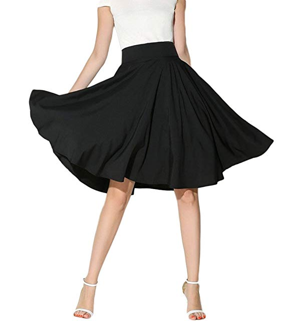 High-waisted Flared Midi Skirt.