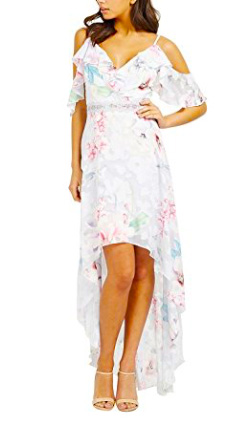 Lipsy Womens Floral Print Burnout V Neck Ruffle Sleeve Maxi Summer Dress