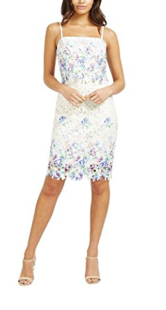 Lipsy Women's Floral Print Lace Detail Sleeveless Slim Fit Bodycon Dress