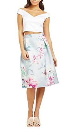 Lipsy Women's Floral Print Satin Prom Pleated Fashion Midi Skirt
