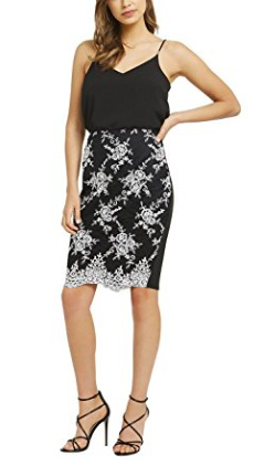 Lipsy Womens Embroidered Pencil Skirt Highwaisted Knee Length Black