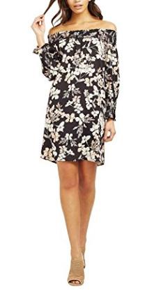 Lipsy Womens Floral Print Shirring Bardot Dress