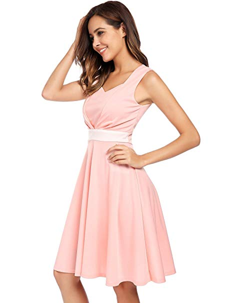 intage Sleeveless 50s Swing Waistband Bowknot Dress.