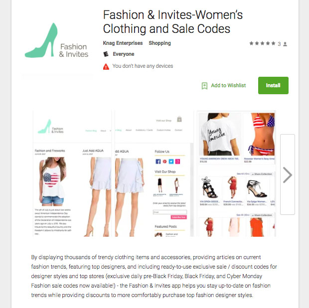 Fashion & Invites-Women's Clothing and Sale Codes App