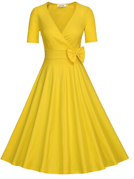 JUESE Women's Vintage 1950's Deep V-Neck Cocktail Swing Dress