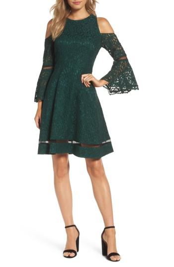 Eliza J Bell Sleeve Cold Shoulder Fit & Flare Dress