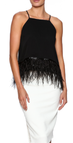 Ruffling Feathers Top - Feather bottom tank with zip back closure.