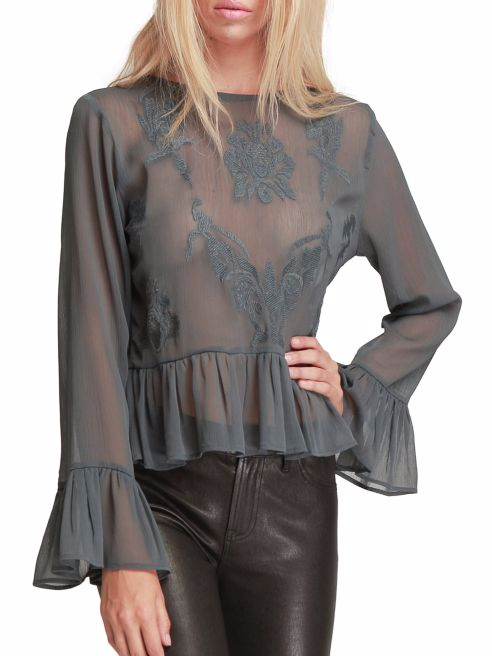 Walter Baker Bell Sleeve Embroidered Top