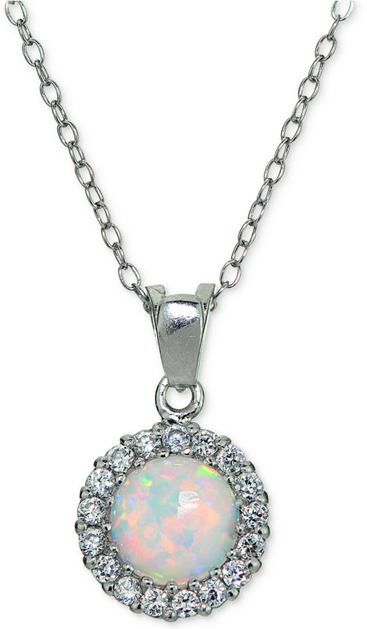 Giani Bernini Iridescent Stone and Cubic Zirconia Halo Pendant Necklace in Sterling Silver