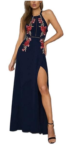 FFLMYUHULIU Women's Sexy Split Floral Off-shoulder Beach Party Maxi Dress
