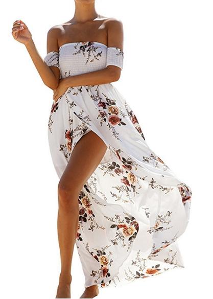 ZESICA Women's Off the Shoulder Floral Print Split Beach Party Maxi Dress