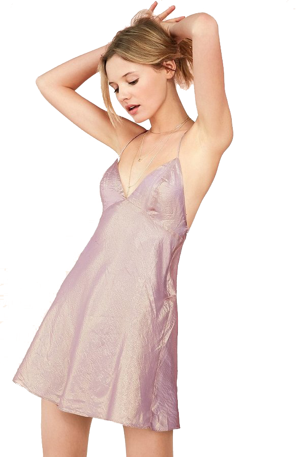 Kimchi Blue Iridescent Satin Babydoll Slip Mini Dress