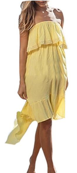 ZANZEA Women's Sexy Boho Off Shoulder Tube Evening Party Beach Long Maxi Dress
