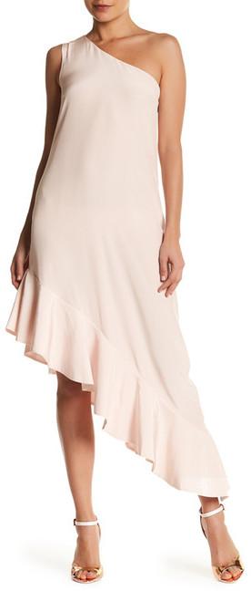 Cynthia Rowley One Shoulder Asymmetrical Flutter Hem Silk Dress