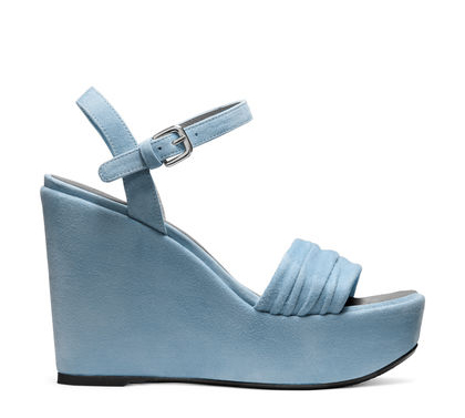 Sundraped - Warm-weather wedges are made luxe via sumptuous suede, which is accentuated via a unique ruching detail on the toe strap. Available in a neutral shade and a denim-inspired hue - these stylish staples will elevate everything from printed midi dresses to cropped, slim-cut trousers and a silk robe.