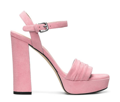 Sunblock - Perfect proportions set these punchy platforms apart from the pack: Note the wide vamp accented with ruching and the stacked, suede-wrapped block heel. Try with high-waisted flares and a fitted jacket.