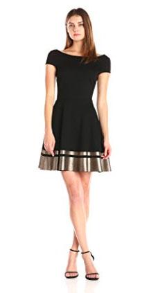 Three Dots Women's Rita Foil Trim Dress with V-Back