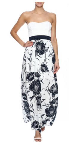 NAVY FLORAL MAXI - BOUTIQUE STELLA CLOTHING BOUTIQUE, CONNECTICUT - White floral printed strapless maxi dress with a sweetheart neckline and short lining.