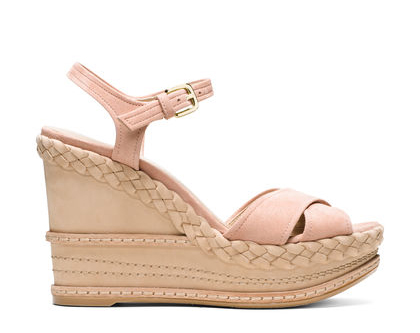 SUNDRY Intricate details distinguish these one-piece-wonder wedges, which feature crossover toe straps crafted from luxe suede and a braided sole detail. Wear these Bohemian-inspired must-haves with a fluid maxi dress and a statement cuff.