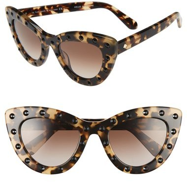 WOMEN'S KATE SPADE NEW YORK 'LUANNS' 50MM CAT EYE SUNGLASSES - HAVANA/ HONEY -onal studs extend the glamorous appeal of retro-inspired sunglasses in a chic cat-eye silhouette. Brand: KATE SPADE NEW YORK. Style Name:Kate Spade New York 'Luanns' 50Mm Cat Eye Sunglasses.