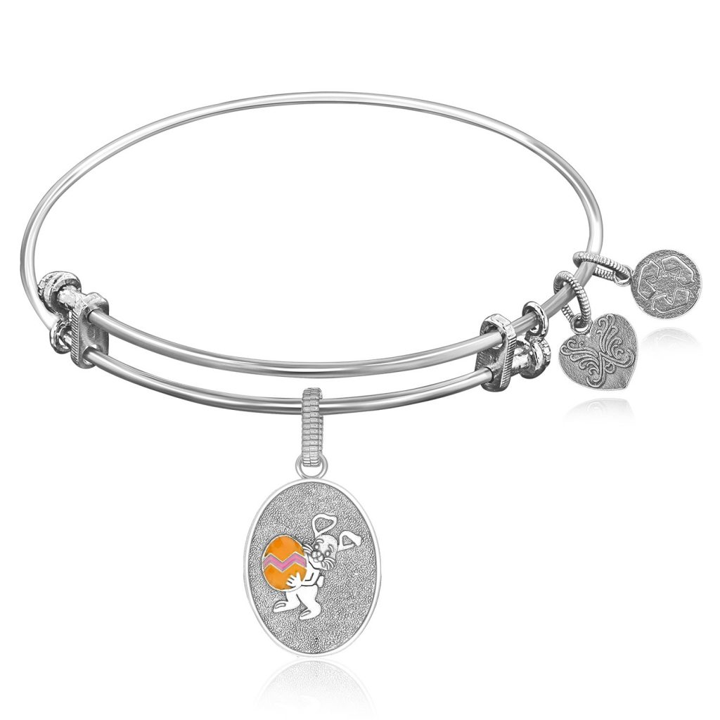 EXPANDABLE BANGLE IN WHITE TONE BRASS WITH EASTER BUNNY SYMBOL - An expandable bangle in white tone brass. This eggcentric charm honors the joy of easter and symbol of rebirth.