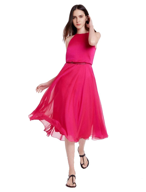 Halston - IRIDESCENT CHIFFON FLOWY DRESS