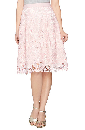 Isaac Mizrahi Live! Floral Lace Knife Pleat Full Skirt - Don't skirt the issue--a beautiful lace skirt, like this one from Isaac Mizrahi, has versatility that works in any situation. Work week meetings to weekend weddings, Easter brunch to ladies who lunch, keep it quietly feminine with a plain top and statement necklace, or rough up the look with a cute moto jacket .