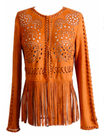 Hippie Fringe Cowgirl In a super soft and luxe suede-like microfiber, this western inspired statement jacket features fringe accents and laser cut-out patterns. Front closer with hook snaps closures.