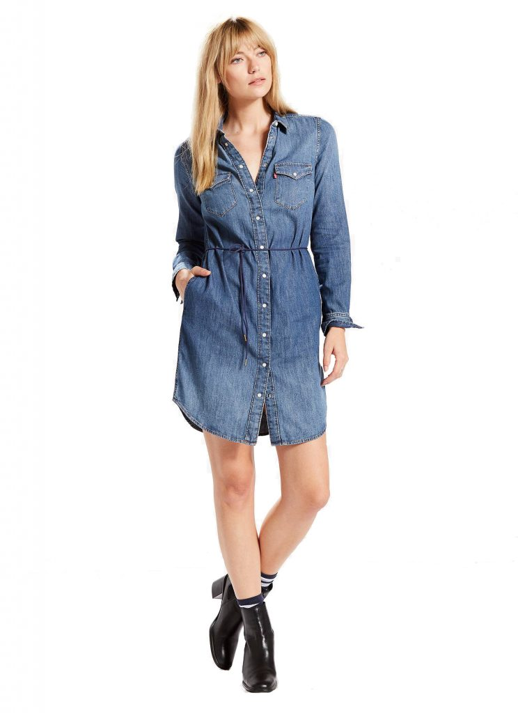 Women's Levi's Western Jean Shirtdress. Bring out your inner cowgirl with this women's charming Western shirtdress from Levi's. In medium blue wash.