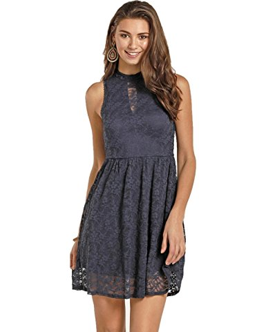 Rock & Roll Cowgirl Women's And Navy High Neck Lace Dress