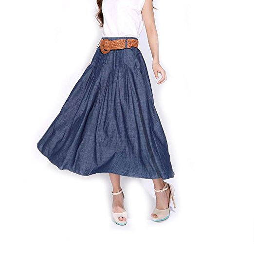 Kaachli Women's Cotton Midi Calf Pleated Fall Thin Blue Denim Skirt with Belt.