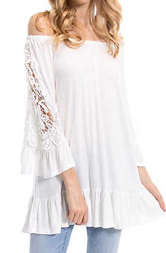 J&K Crochet off-the-shoulder western cowgirl top blouse t-shirt