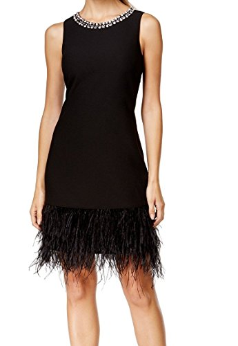 Vince Camuto Women's Jeweled Feather-Trim Cocktail Dress