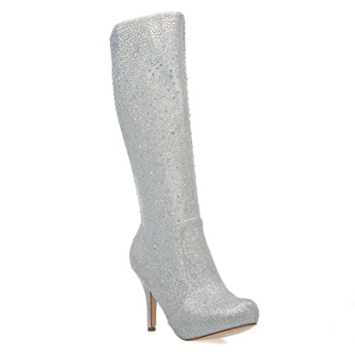 V-Luxury Womens 23-ROBIN98 Closed Toe Rhinestone Knee High Stiletto Heel Platform Boot Shoes, Silver Glitter