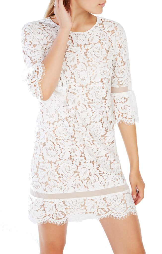 BCBGMAXAZRIA Celestia Lace Dress Bell Sleeve