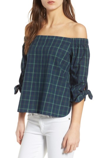 Bailey 44 Off-the-Shoulder Plaid Top - A classic tartan plaid adds a touch of Ivy-League prep to this of-the-moment, shoulders-first top from Bailey 44.