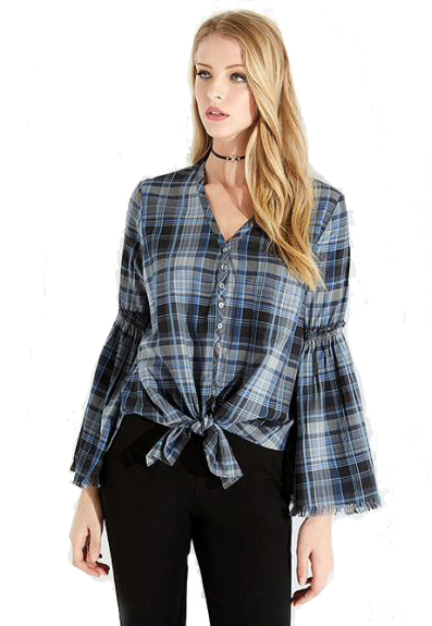 Karen Kane Bell-Sleeve Tie-Front Plaid Shirt - Karen Kane's classic plaid shirt gets a boho update from flared bell sleeves with fringe cuffs. A tied hem gives it a laid-back finish.