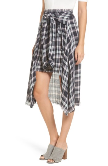 Women's Somedays Lovin When We Wake Plaid Skirt -Go grunge-chic in this asymmetrical plaid skirt featuring faux sleeves that tie at the waist with nonchalant attitude. Raw, fraying edges add to the cool '90s vibe.