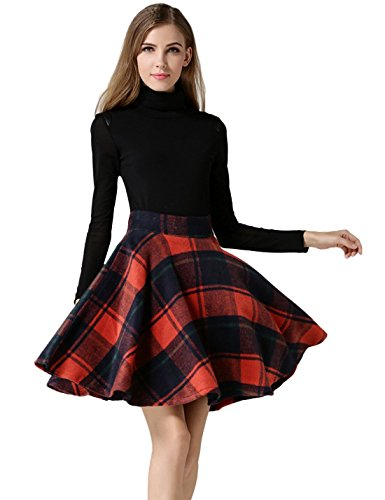 Tanming Women's High Waisted Wool Check Print Plaid A-line Skirt