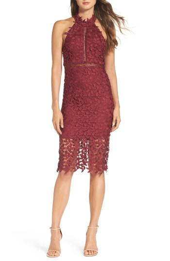 Women's Bardot Gemma Halter Lace Sheath Dress - This leafy lace cocktail dress conceals and reveals with caged ladder trim, a strappy open back and a sheer illusion hem that showcases intricate detailing.