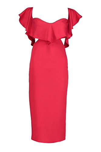 Boohoo Womens Kyra Frill Detail Midi Bodycon Midi Dress