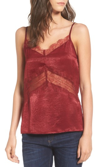 Women's Soprano Lace Trim Camisole - Cut with an of-the-moment off-the-shoulder neckline, this summery shift is enlivened with vibrant threads of color and beautifully ruffled sleeves.