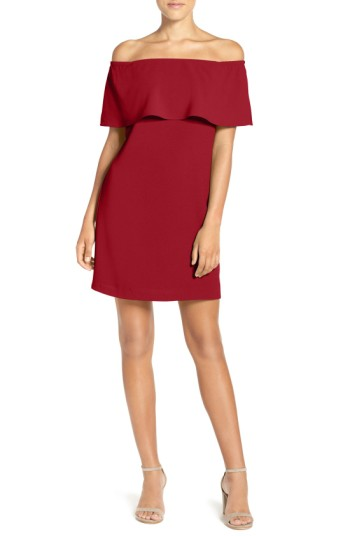 Women's Charles Henry Off The Shoulder Dress - This vivid dress has a trendy off-the-shoulder neckline styled with a flirty ruffle that enhances the crisp, fluttery silhouette.