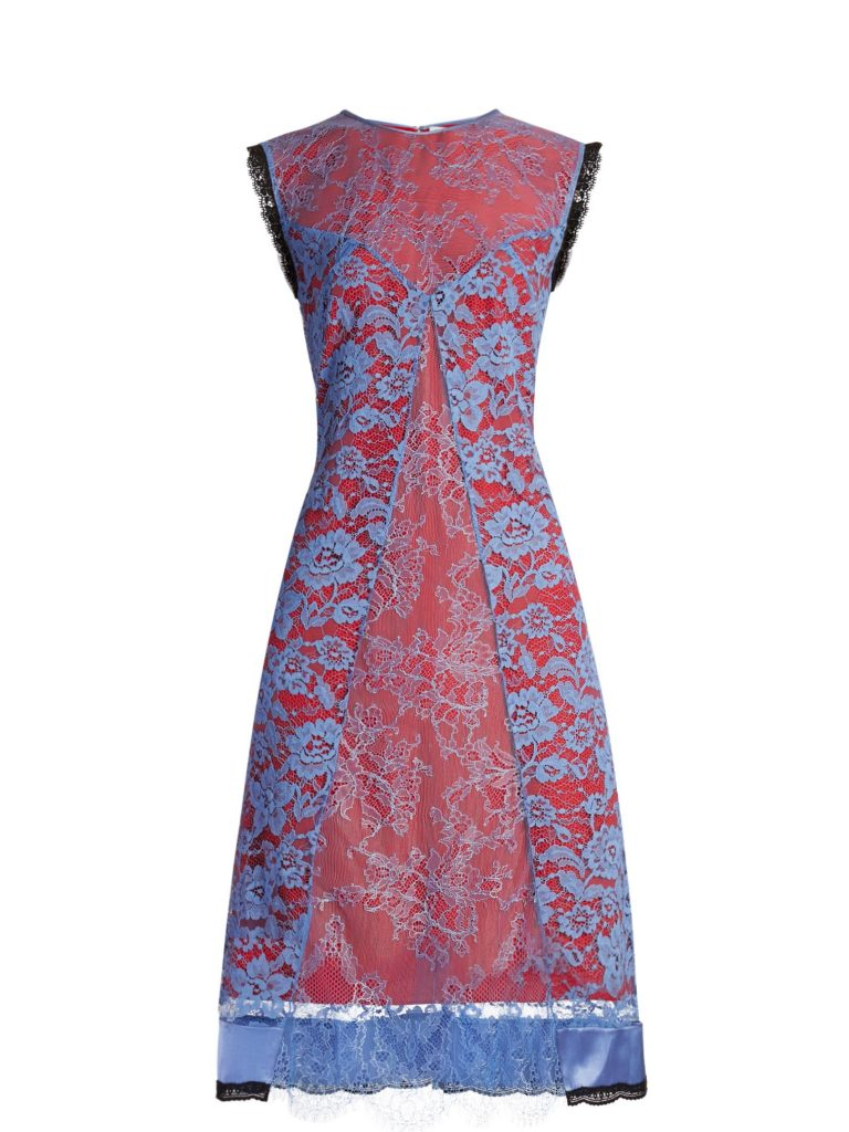 ALTUZARRA Harry lace-overlay dress - This sleeveless Harry design features a delicate veil of powder-blue floral-lace sheer enough to expose the vermilion-red base beneath and is stitched with clever panels.