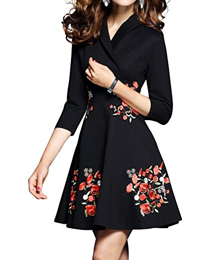 Women's Premium V neck Embroidered Floral 2/3 Sleeves Skater Cocktail Dress