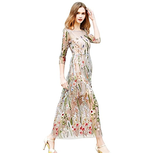 Sunsent Women's Sheer Embroidered Floral Cocktail Dress With Cami Dress