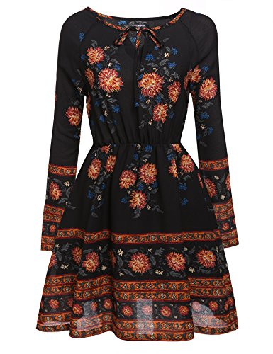 Zeagoo Women's Bohemian Style O-neck Long Sleeve Floral Casual Dress