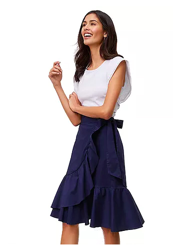 LOFT Ruffled Wrap Skirt