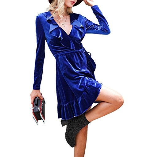 Yobecho Womens Ruffled Velvet Dresses Deep V Neck Long Sleeve Cocktail Party Dress